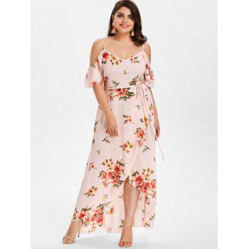 Plus Size Cold Shoulder Floral Maxi Flowing Dress - LIGHT PINK 1X