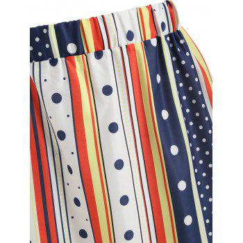 Contrast Striped Polka Dot Print Skirt - multicolor L