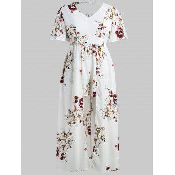 Short Sleeve Plus Size Floral Print Romper - WHITE 1X