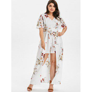 Short Sleeve Plus Size Floral Print Romper - WHITE 4X