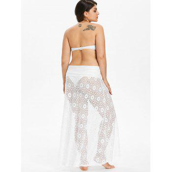 Plus Size Halter Lace Cover-up Dress - WHITE 1X