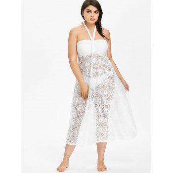 Plus Size Halter Lace Cover-up Dress - WHITE 4X
