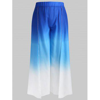 Plus Size High Waist Ombre Pants - BLUE 2X
