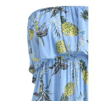 Pineapple Print Asymmetric Strapless Midi Boho Dress - BUTTERFLY BLUE XL