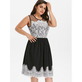 Plus Size Lace Panel Sleeveless Party Dress - BLACK 2X