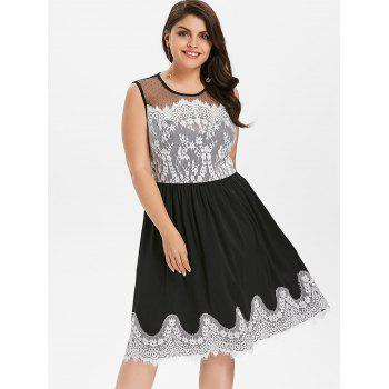Plus Size Lace Panel Sleeveless Party Dress - BLACK 5X