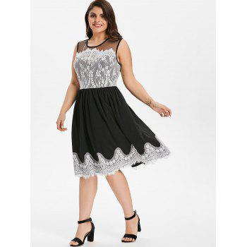 Plus Size Lace Panel Sleeveless Party Dress - BLACK L