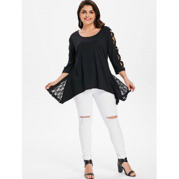 Criss Cross Sleeve Plus Size Asymmetrical Top - BLACK L