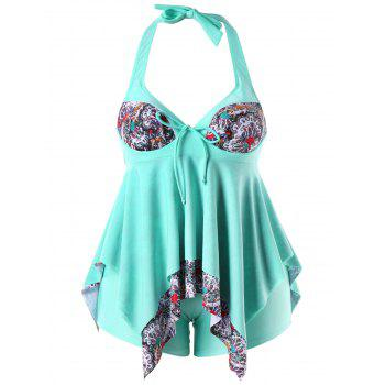 Plus Size Halter Handkerchief Tankini Set - LIGHT AQUAMARINE L