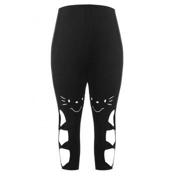 Plus Size Cutout Bow Capri Leggings - BLACK L