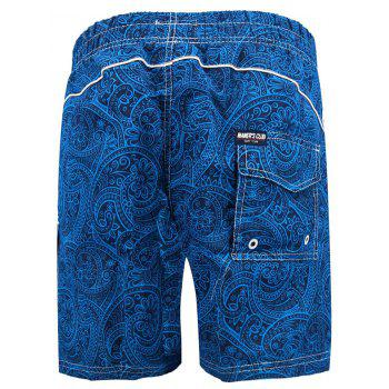 Lace Up Allover Floral Prints Board Shorts - ROYAL BLUE M