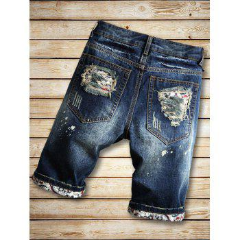 Distressed Zipper Fly Printed Panel Casual Shorts - DENIM DARK BLUE S
