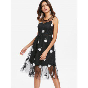 Mesh Swan Embroidered Sleeveless Dress - BLACK 2XL