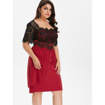 Plus Size Two Tone Scalloped Square Neck Dress - RED WINE 2X