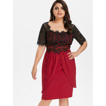 Plus Size Two Tone Scalloped Square Neck Dress - RED WINE 1X