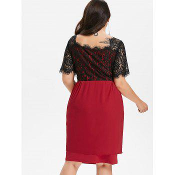 Plus Size Two Tone Scalloped Square Neck Dress - RED WINE 4X