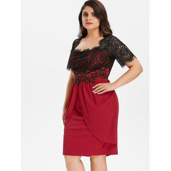 Plus Size Two Tone Scalloped Square Neck Dress - RED WINE 3X