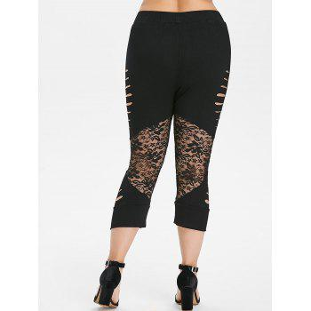 Plus Size Ladder Up Lace Cropped Leggings - BLACK 4X