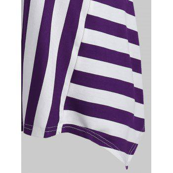 Striped Cami Handkerchief T-shirt - PURPLE IRIS 2XL