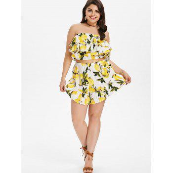 Plus Size Flounce Lemon Print Shorts Set - YELLOW L