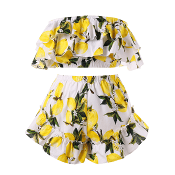 Plus Size Flounce Lemon Print Shorts Set - YELLOW 2X