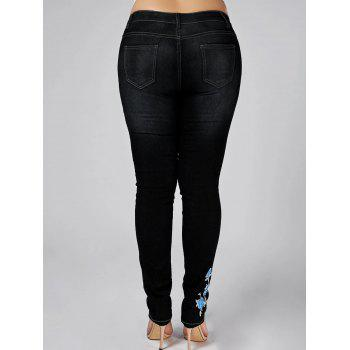 High Waist Plus Size Floral Embroidered Skinny Jeans - BLACK 4XL