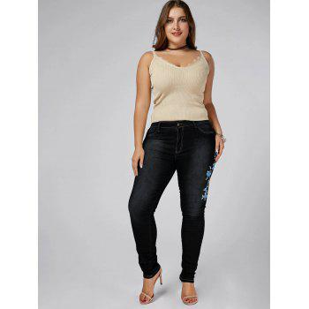 High Waist Plus Size Floral Embroidered Skinny Jeans - BLACK 3XL