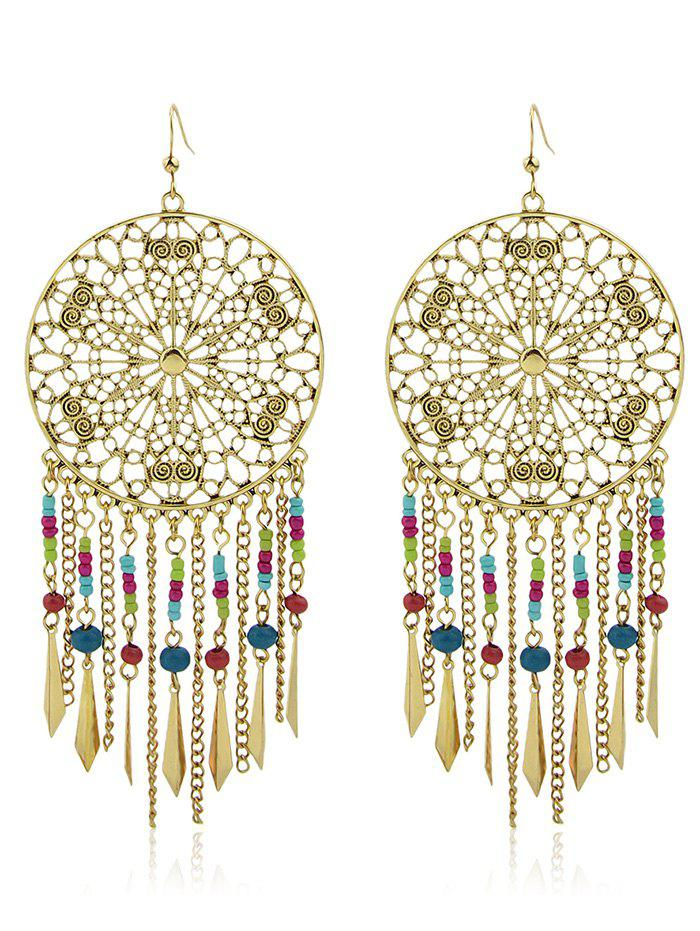 Hollow Out Beaded Statement Hook Drop Earrings tear drop beaded hollow out rhinestone earrings