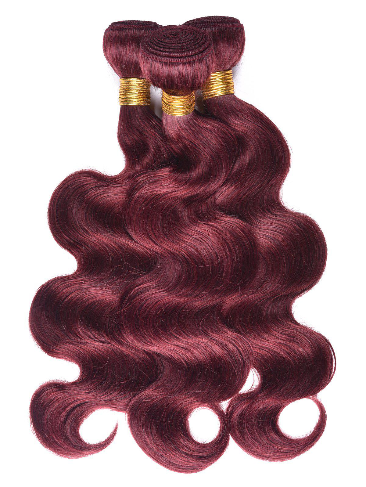 Dyeable Permed Body Wave 3Pcs Human Hair Indian Hair Weaves - RED WINE 16INCH*16INCH*16INCH
