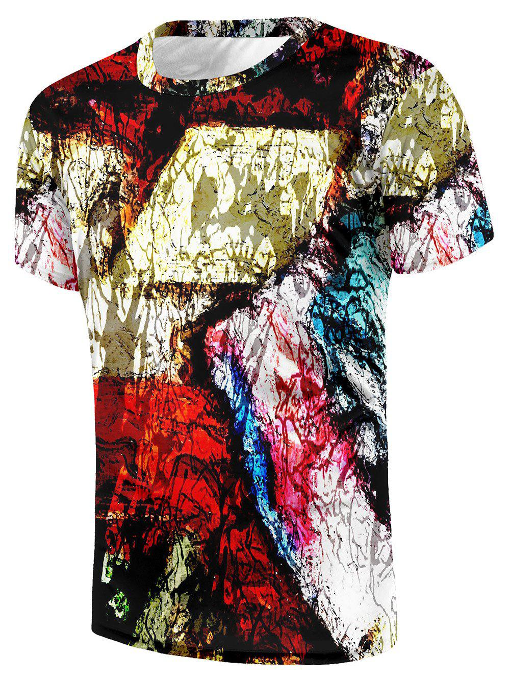 Crew Neck Dye Scrawl Print T-shirt - multicolor XL