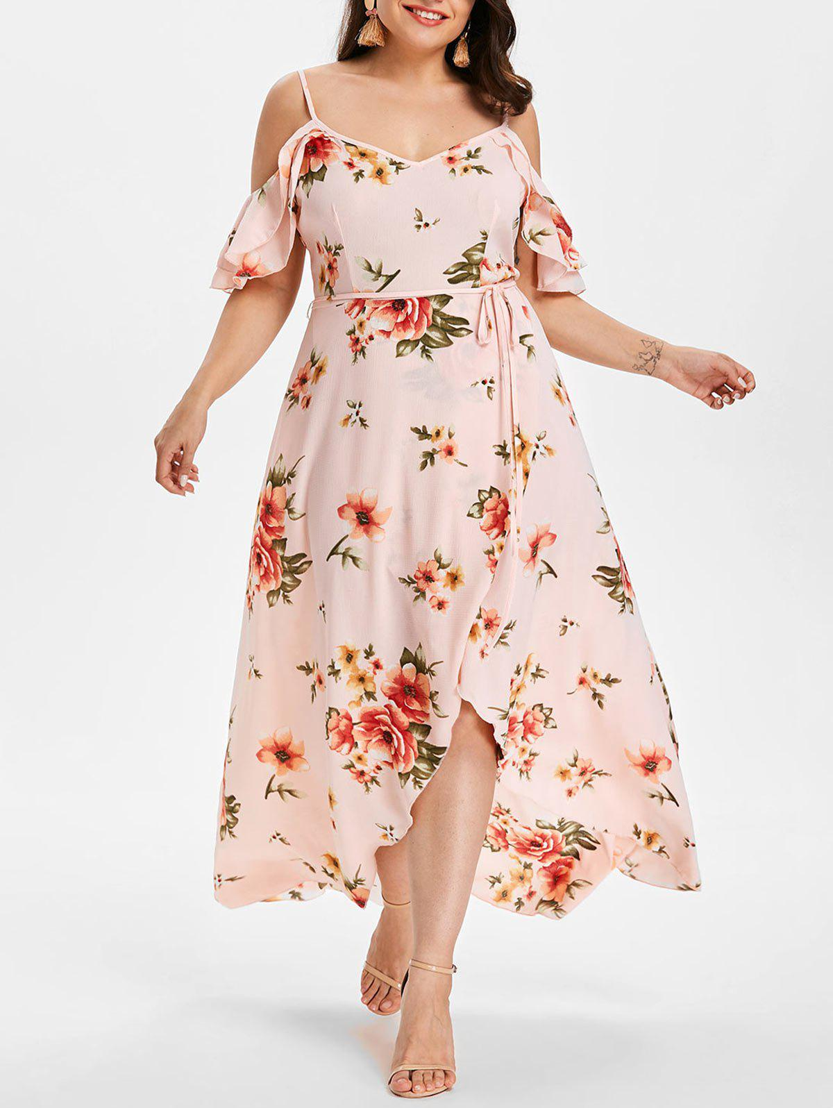 Plus Size Cold Shoulder Floral Maxi Flowing Dress - LIGHT PINK 4X