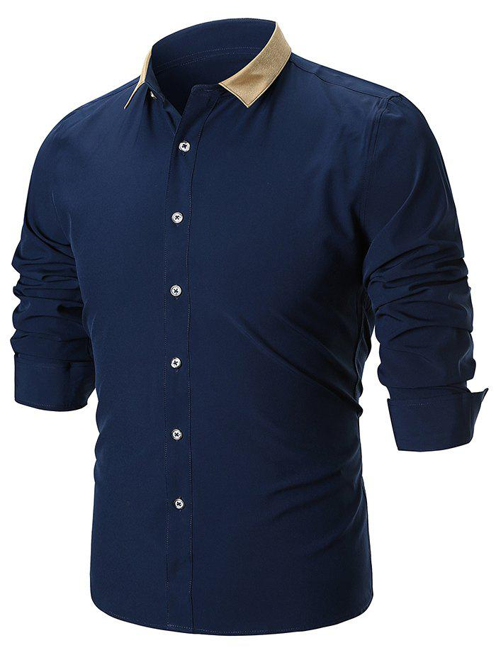 Color Block Turn Down Collar Casual Shirt - DEEP BLUE M