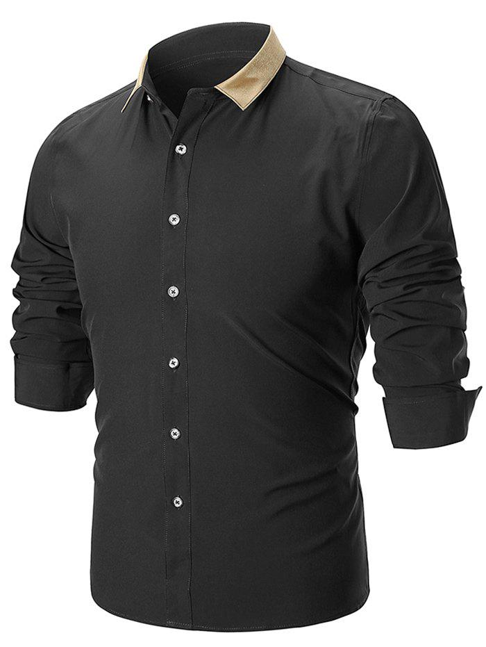 Color Block Turn Down Collar Casual Shirt - BLACK 2XL