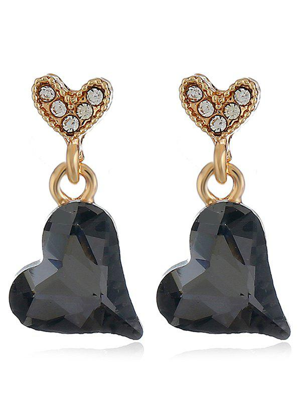 Pair of Lovely Heart Faux Crystal Drop Earrings faux opal geometric earrings