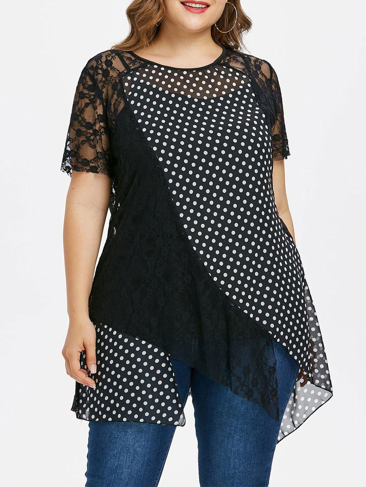 Plus Size Lace Polka Dot Top And Cami