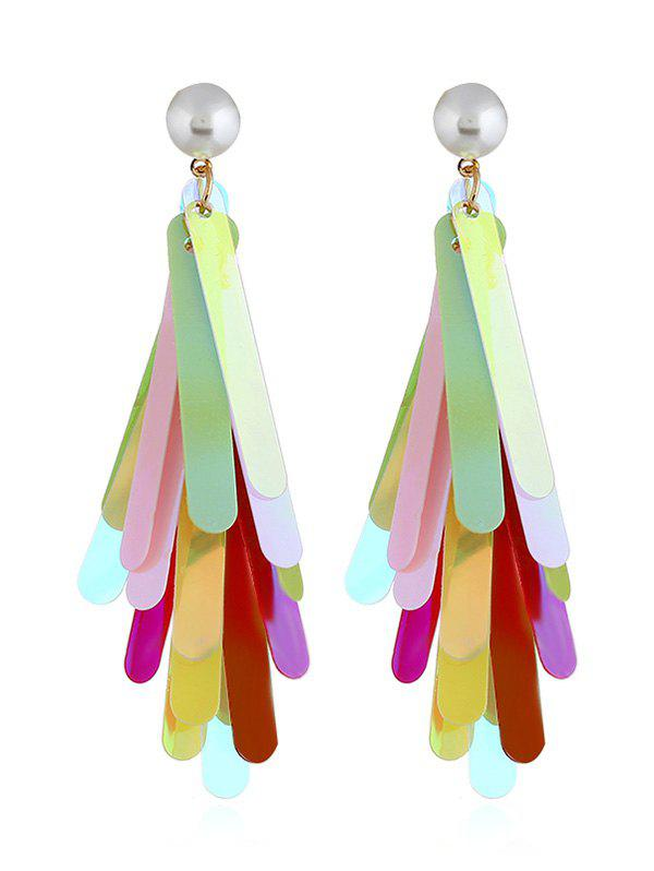 Pair of Colored Sequins Decorative Dangle Drop Earrings silver plated bar dangle drop earrings
