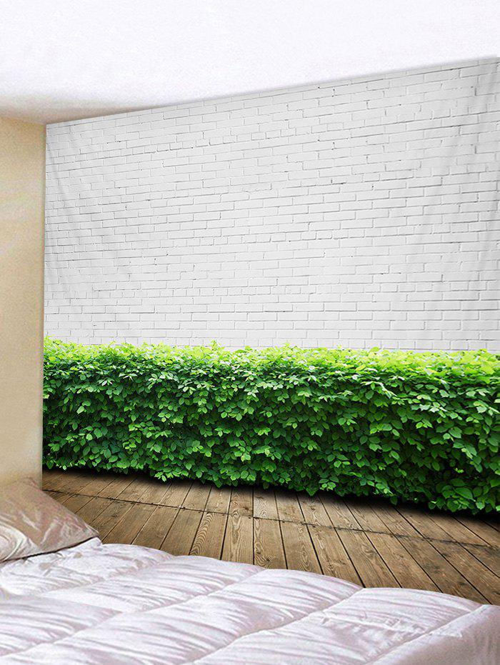 White Wall Green Leaves Print Wall Decor Tapestry tropical leaves print tapestry