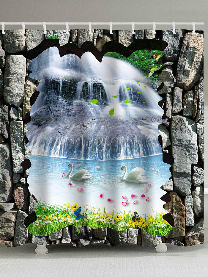 3D Waterfall Two Swans Print Bathroom Shower Curtain swans flowers cascade waterproof shower curtain carpet set