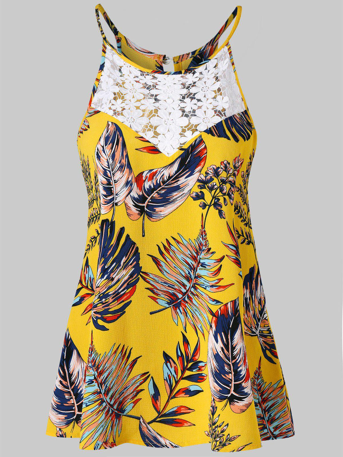 Lace Insert Palm Fronds Trapeze Tank Top - SUN YELLOW 2XL