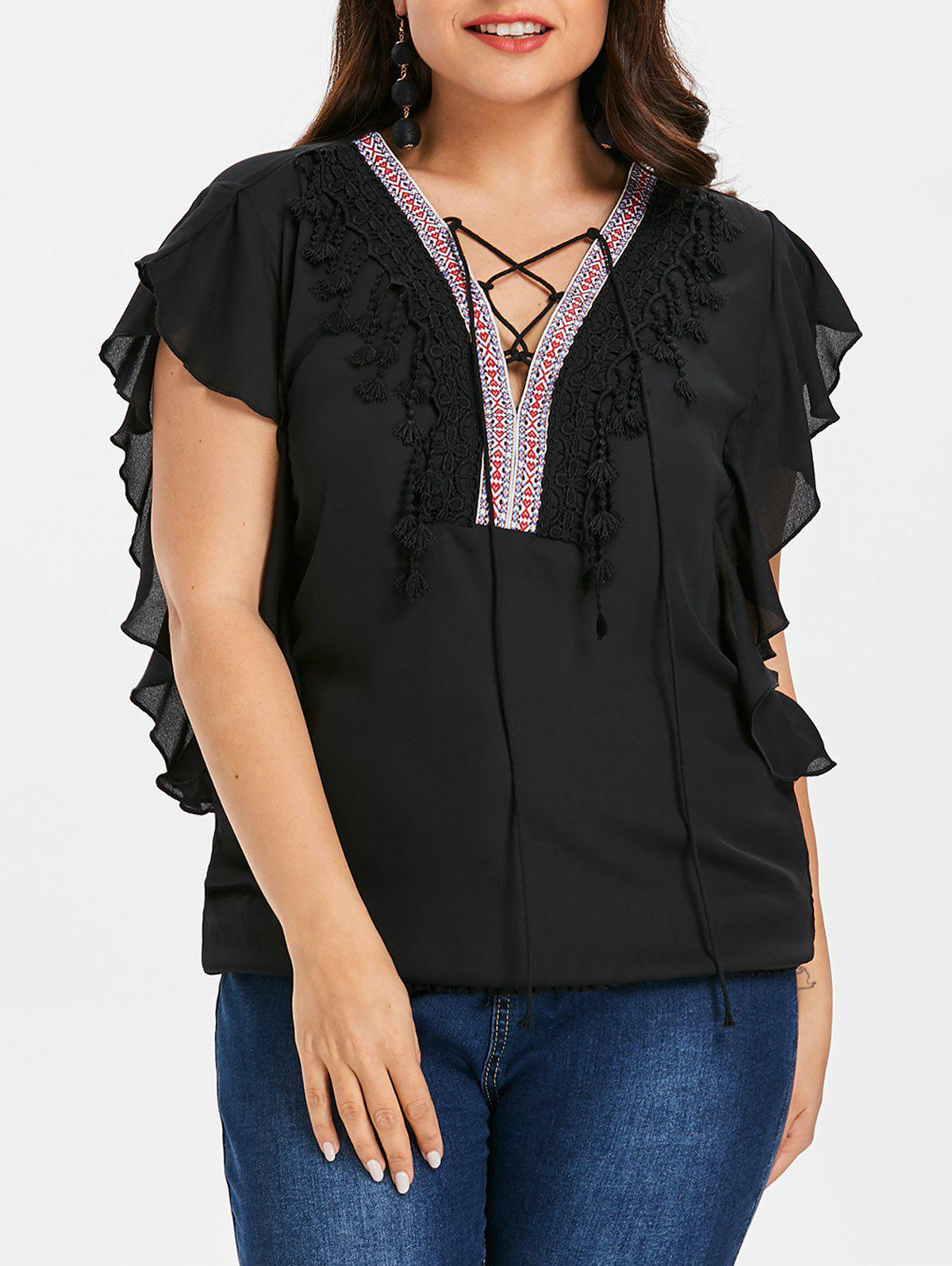 Plus Size Lace Up Applique Blouse