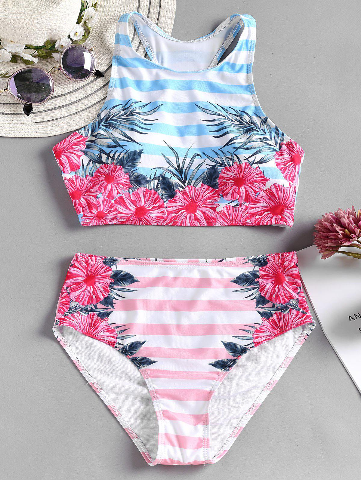 Floral High Waisted Bikini Set - BLUE L