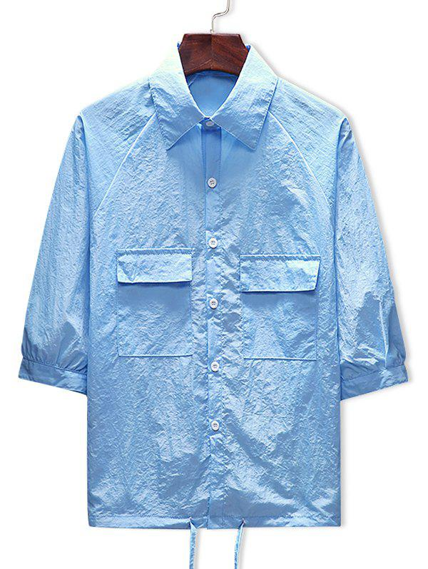 Two Pockets Raglan Sleeve Sunscreen Jacket - DAY SKY BLUE L
