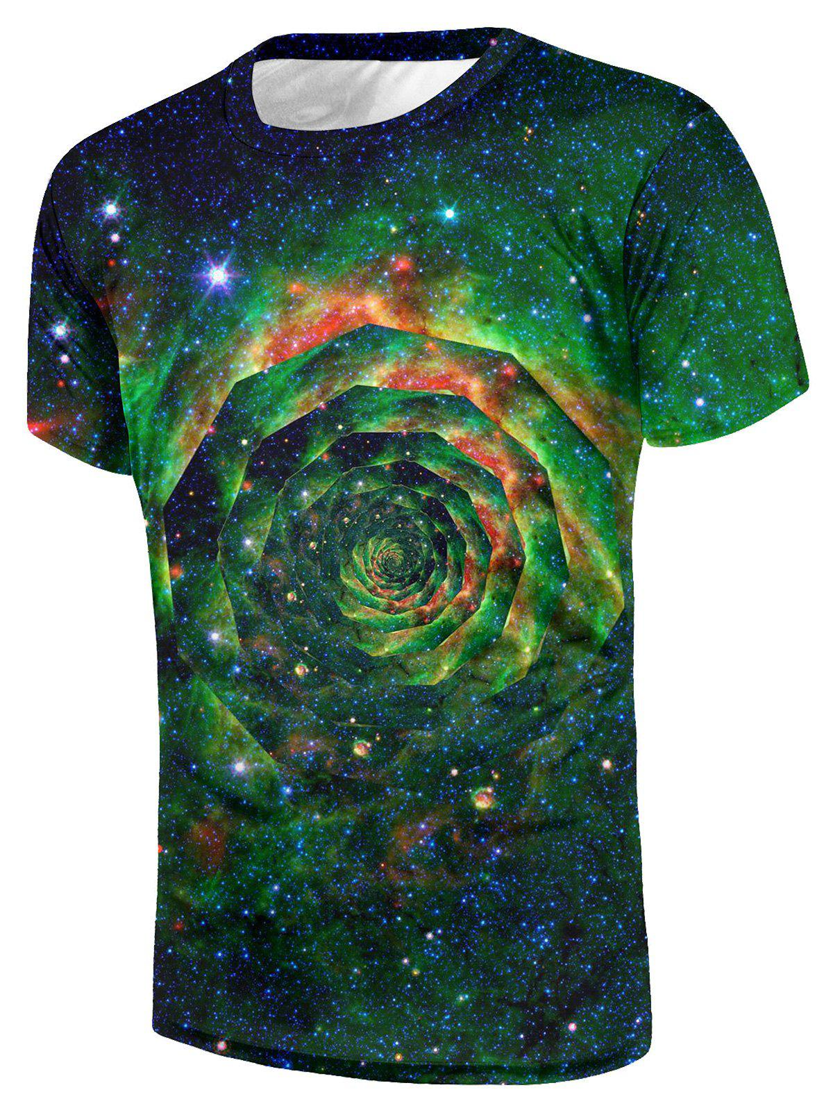 Casual Galaxy Floral Swirl Galaxy  Print T-shirt - multicolor 2XL