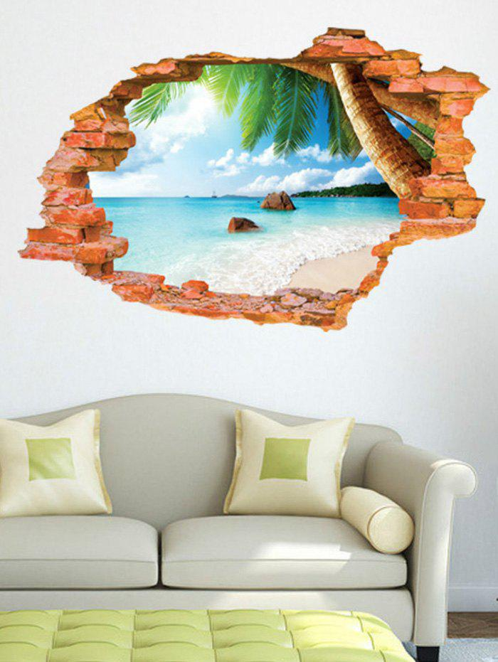 3D Broken Wall Brick Sea Print Removable Wall Sticker vinyl removable 3d love broken wall sticker