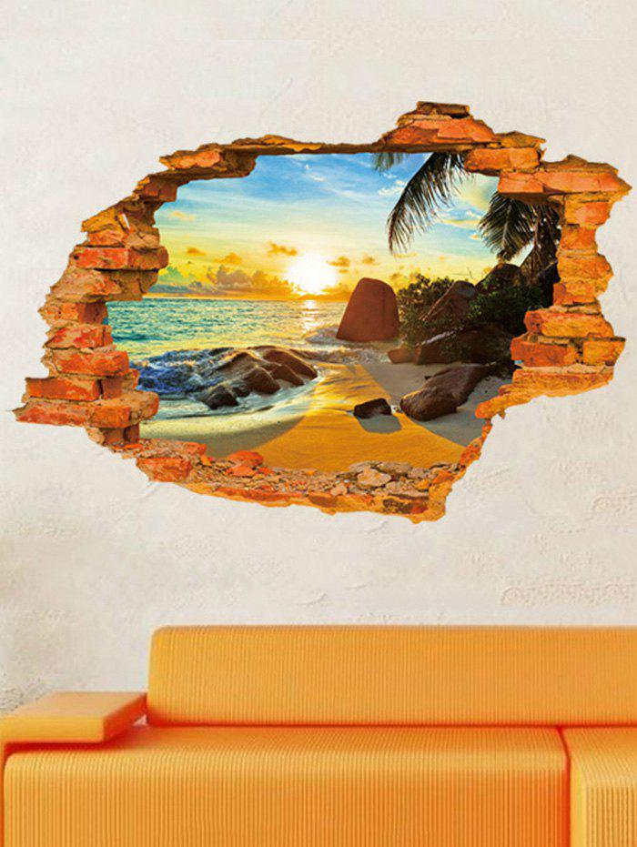 3D Broken Wall Brick Scene Print Removable Wall Sticker vinyl removable 3d love broken wall sticker