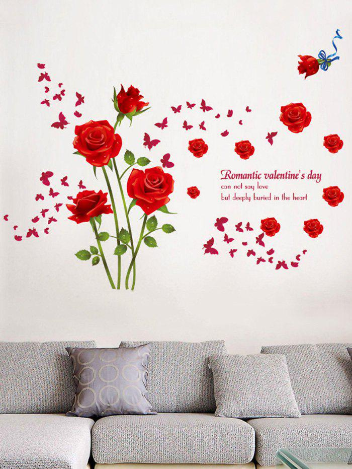 Rose Flower Leaf Butterfly Printing Wall Sticker все цены