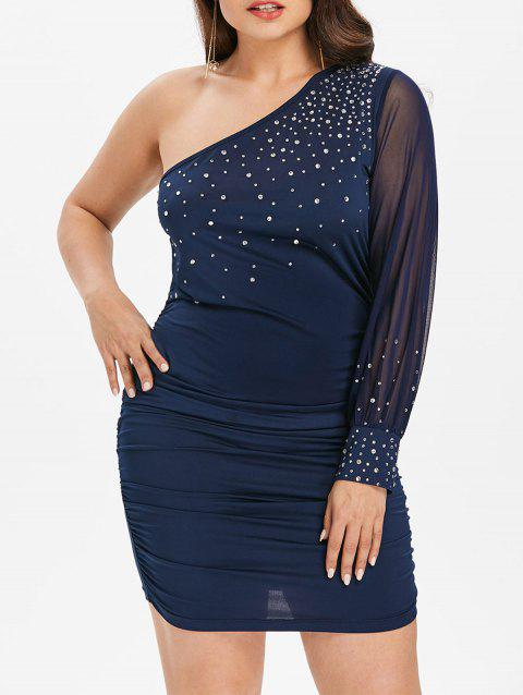 Plus Size One Sleeve Embellished Dress - MIDNIGHT BLUE 5X