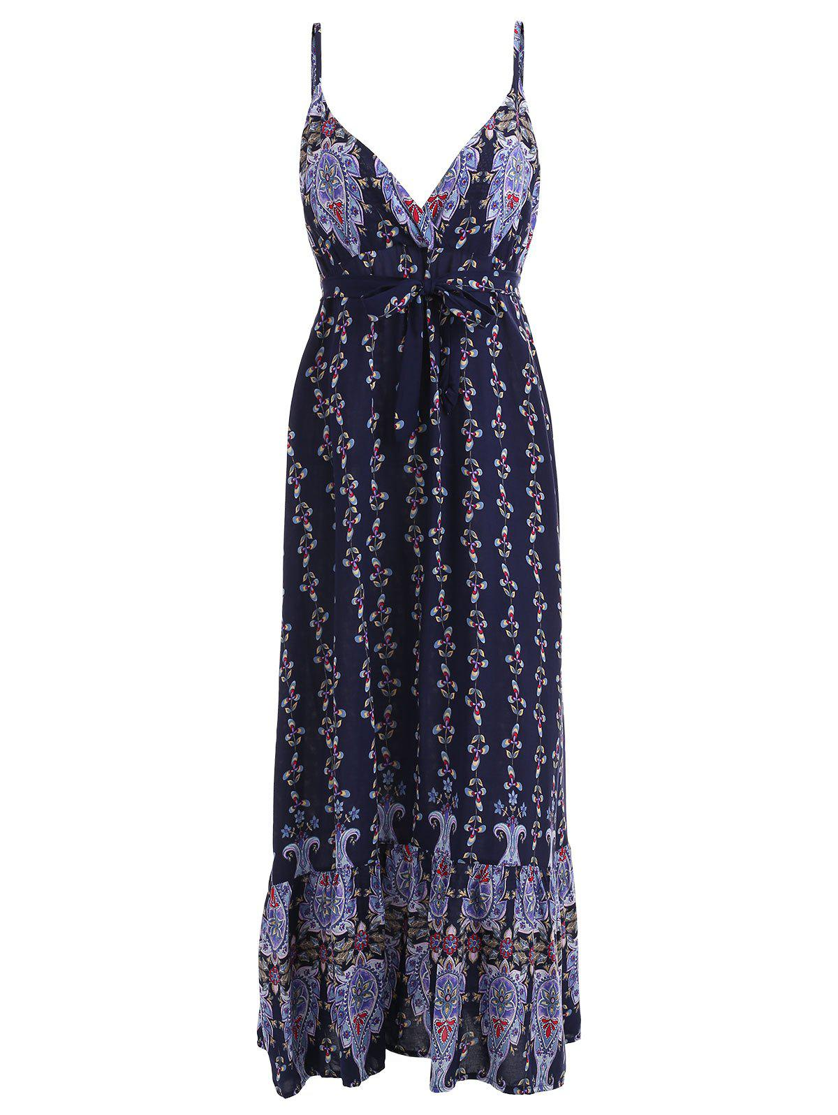 Print Plunging Neck Slip Dress - DEEP BLUE ONE SIZE