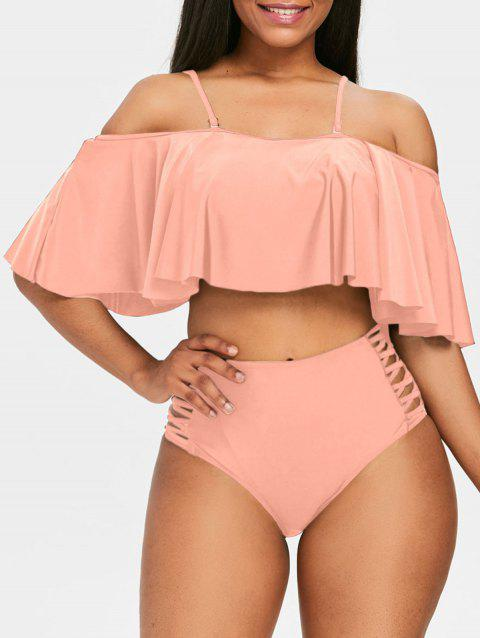 Frilled Cold Shoulder Bikini Set - PIG PINK L