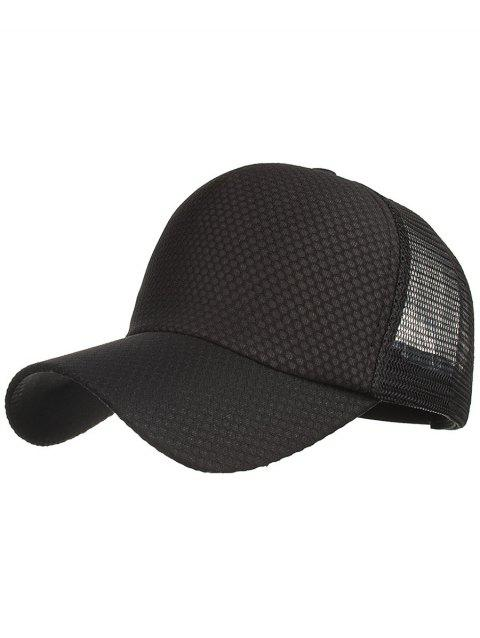 Outdoor Solid Color Mesh Sport Hat - BLACK